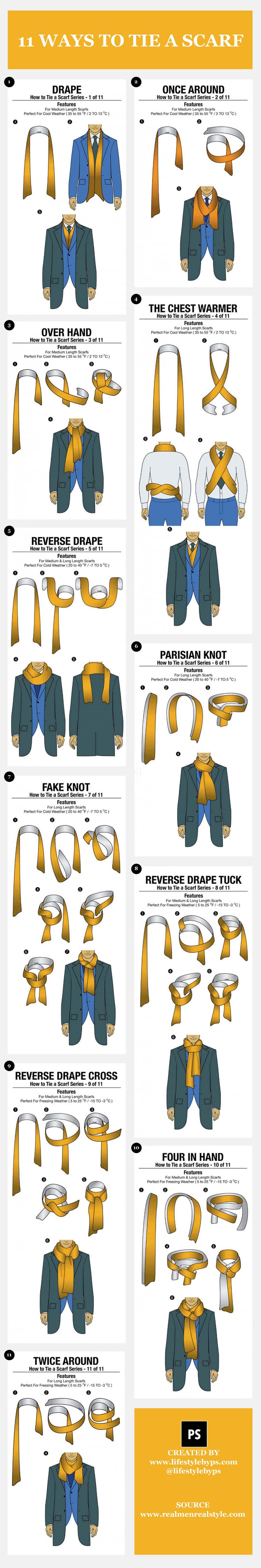 11 روش بستن شال گردن