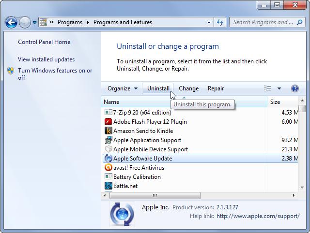 پاک کردن برنامه در ویندوز 7 - روباه
